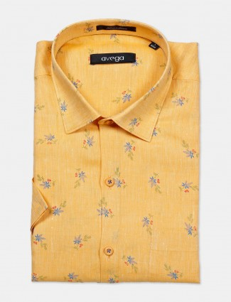 Avega yellow printed linen shirt