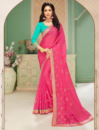 Awesome pink chiffon sari for festive wear