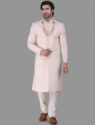 Awesome pink silk chikan sherwani