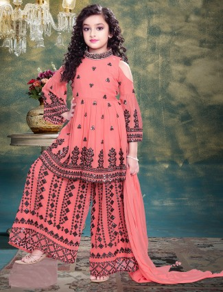 Babies peach tint sharara suit for wedding sessions