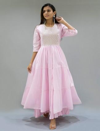 Baby pink gallant festive wear kurti in cotton