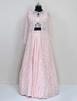 Baby pink jacket style salwar suit for reception