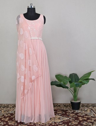 Baby pink rich wedding wear floor length dress for women