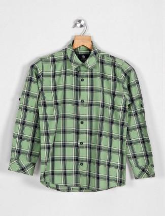 Balazo green checks pattern cotton shirt