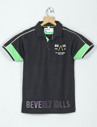 Bambini black printed cotton casual polo t-shirt