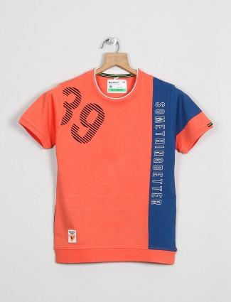 Bambini orange hue cotton casual t-shirt