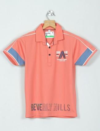 Bambini peach casual wear printed polo t-shirt