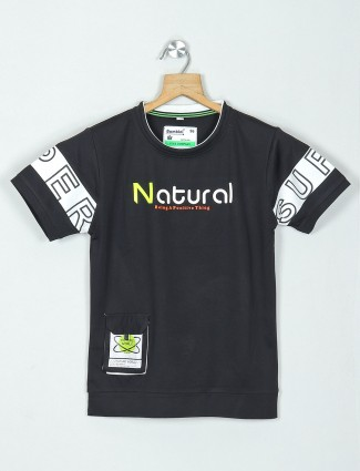Bambini printed black cotton boys t-shirt