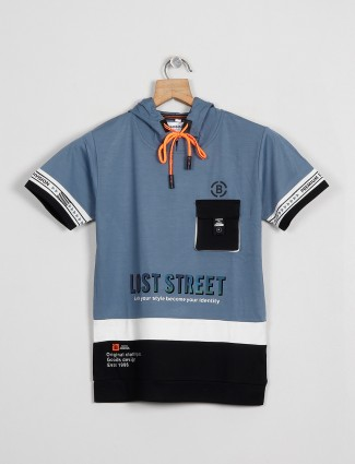 Bambini printed blue hue cotton casual t-shirt for boys