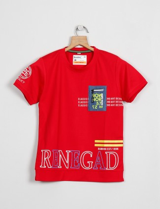Bambini printed red cotton casual t-shirt for boys