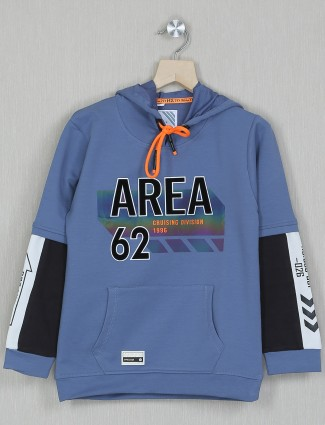 Bambini printed style blue hoodie for boys