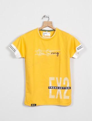 Bambini printed yellow casual t-shirt in cotton
