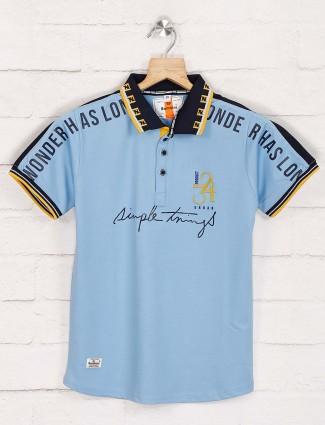 Bambini sky blue polo printed t-shirt