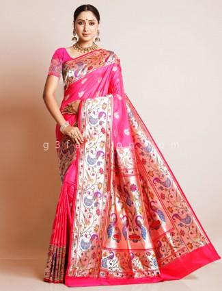 Banarasi paithani silk saree in pink color