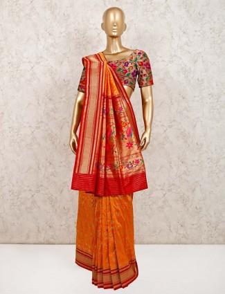 Banarasi silk orange wedding saree