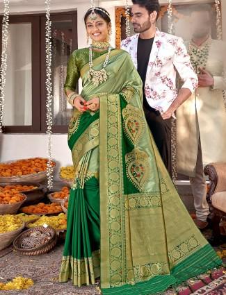 Banarasi silk pista green wedding occasions saree