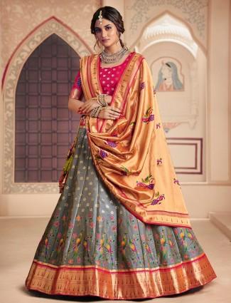 Banarasi silk pretty grey hue lehenga choli