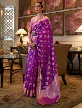 Banarasi silk purple hue wonderful wedding saree