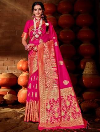 banarasi silk saree in magenta color