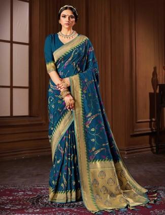 Banarasi silk saree in teal blue for wedding