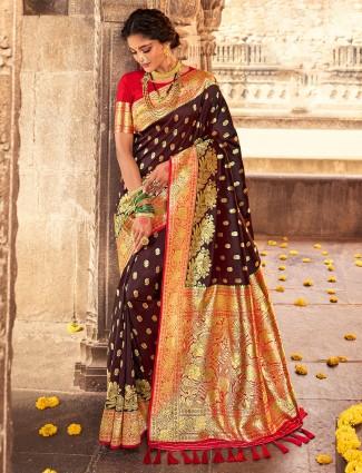 Banarasi silk wedding functions saree in brown
