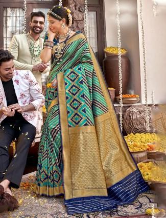 Banarasi silk wedding wear aqua saree