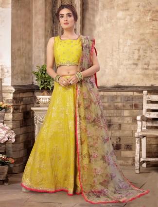 Banarasi silk wedding wear yellow lehenga choli