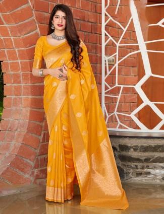 banarasi silk Yellow festive wear saree