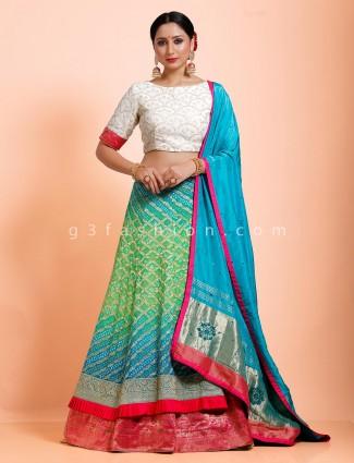 Bandhej green white wedding semi stitched choli suit
