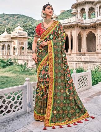 Bandhej patola silk mahendi green wedding functions saree