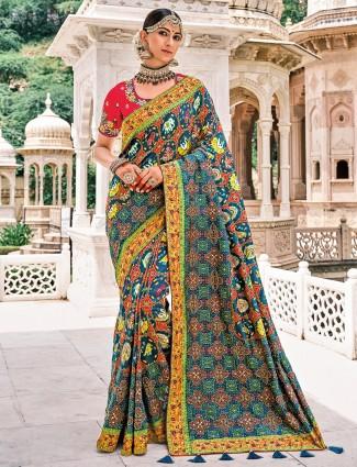 Bandhej patola silk peacock blue wedding session saree