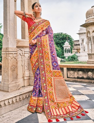 Bandhej patola silk wedding functions saree in purple