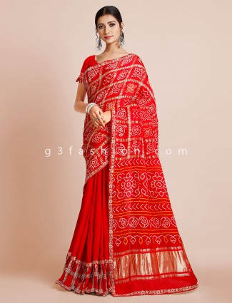 Bandhej red saree for weddding