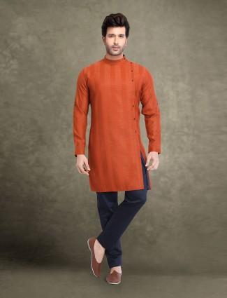 Bandhgala collar rust orange cotton kurta suit