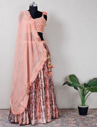 Beautifl peach silk wedding wear lehenga choli