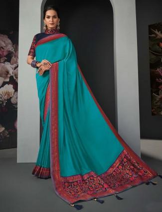 Beautiful aqua silk festive wear saree for women