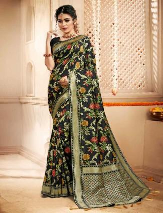 Beautiful banarasi silk black saree for women