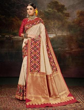 Beautiful beige patola silk wedding wear saree