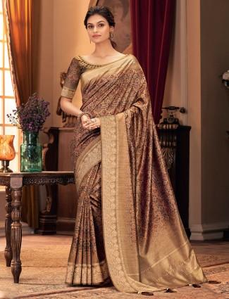Beautiful biege cotton silk festive wear saree