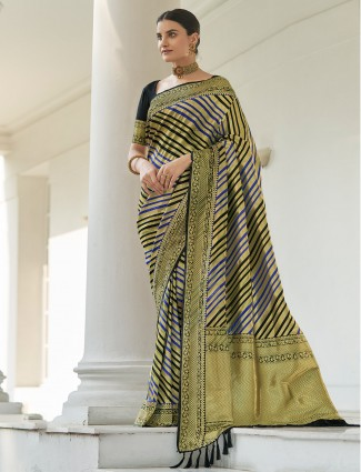 Beautiful black party wear occasions silk saree