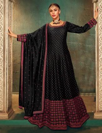 Beautiful black raw silk anarkali salwar suit for wedding