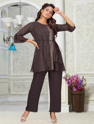 Beautiful charcoal grey georgette punjabi style pant suit for casual