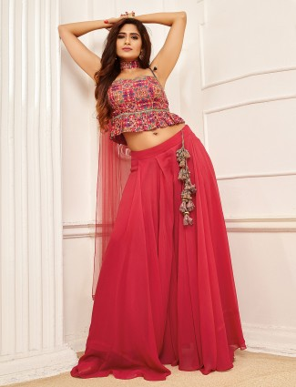 Beautiful coral pink georgette jacket style palazzo suit