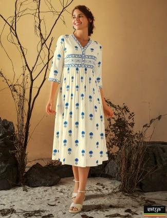 Beautiful cotton printed casual wear kurti in cream