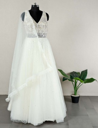 Beautiful cream wedding wear net anarkali suit