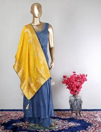 Beautiful dark blue raw silk wedding wear palazzo suit