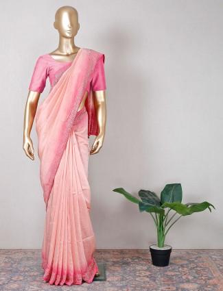 Beautiful festive pink silk saree