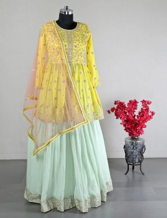 Beautiful georgette yellow wedding lehenga choli