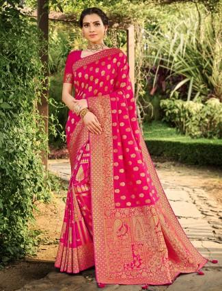 Beautiful magenta color banarasi Silk wedding saree