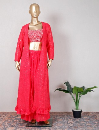 Beautiful magenta georgette jacket style palazzo suit